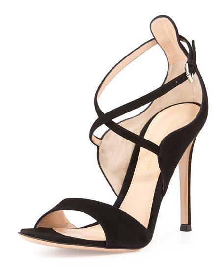 Crisscross Ankle-Wrap Suede Sandal