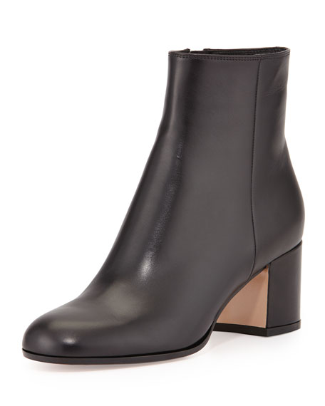 Gianvito Rossi Vitello Leather Block Heel Ankle Boot