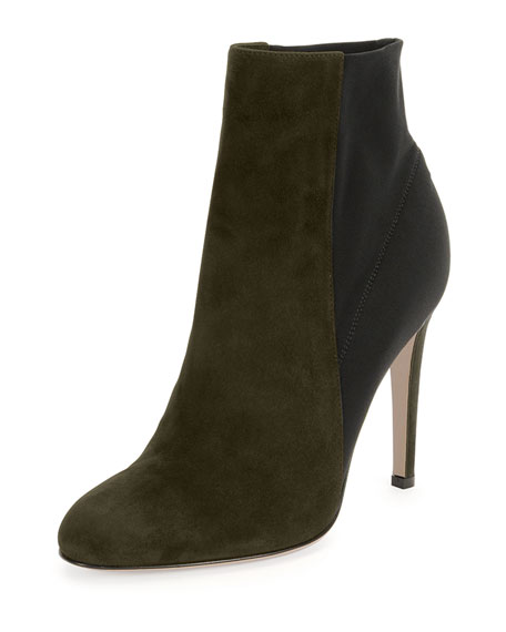 Suede & Stretch Ankle Boot
