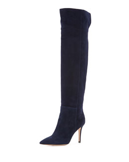 Suede Point-Toe Over-The-Knee Boot