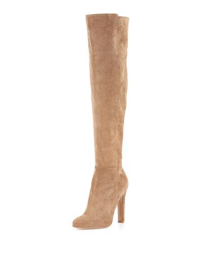 Suede Almond-Toe Zip Over-The-Knee Boot