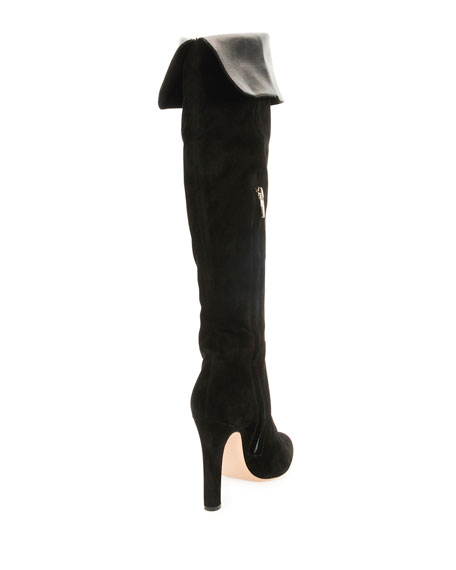 Suede Almond-Toe Zip Over-The-Knee Boot