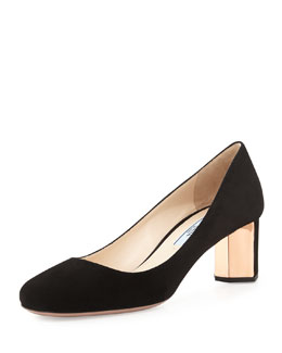 Round-Toe Metallic-Heel Suede Pump