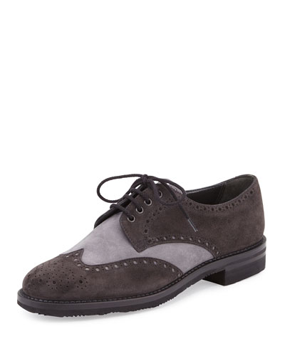 Two-Tone Suede Wing-Tip Oxford