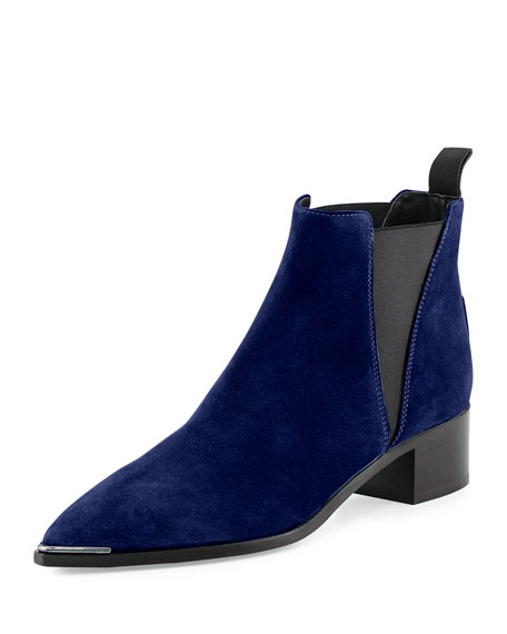 Jensen Pointy-Toe Ankle Boot, Navy