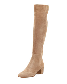 Suede Block-Heel Over-the-Knee Boot, Bisque