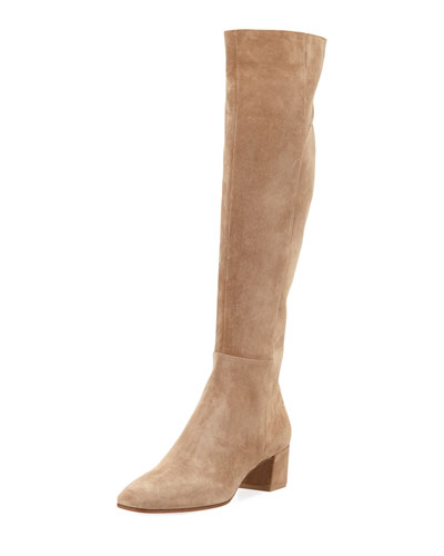Suede Block-Heel Knee Boot, Bisque