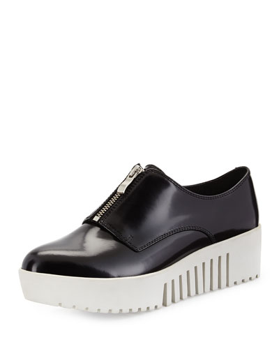 Grunge Zip-Front Leather Platform Oxford
