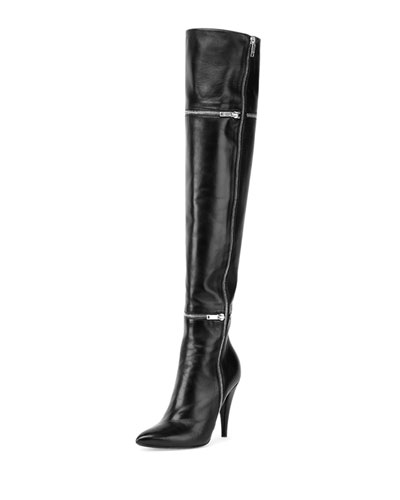 Leather Zip-Trim Over-the-Knee Boot, Black