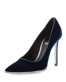 Velvet Strass Crystal Point-Toe Pump, Navy