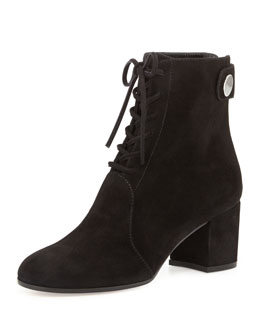 Suede Lace-Up Ankle Boot, Luggage