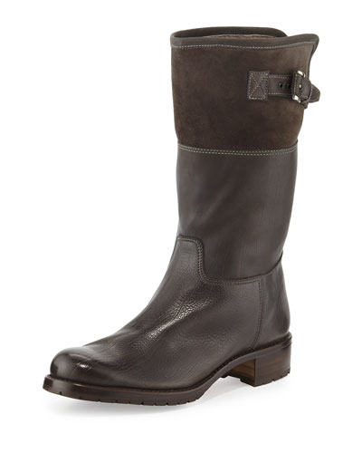 Waterproof Suede & Leather Shearling-Lined Boot