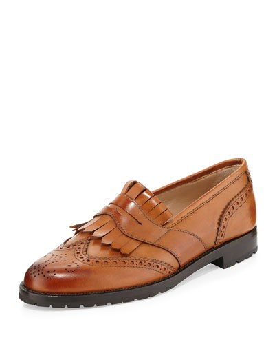Dasia Perforated Fringe Leather Loafer