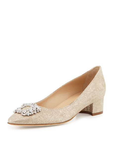 Listony Crystal-Buckle Low-Heel Pump, Beige