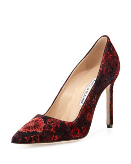 BB Floral Velvet Point-Toe Pump