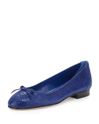 Prep Glossy Patterned Suede Ballet Flat