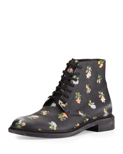 Floral-Print Leather Grunge Boot, Black