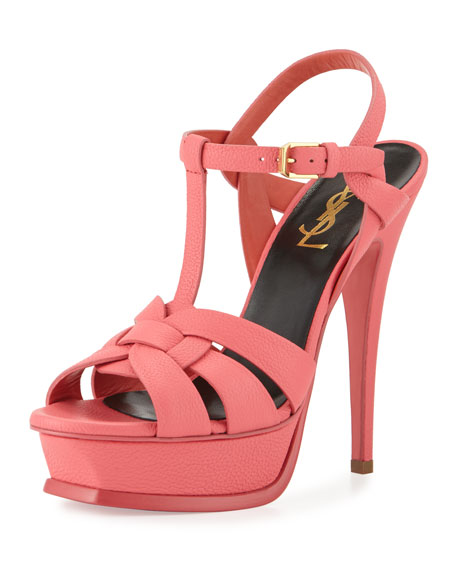 Tribute Leather Platform Sandal, Rose Clair