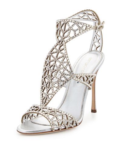 Tressor Crystal-Embellished Sandal, Silver