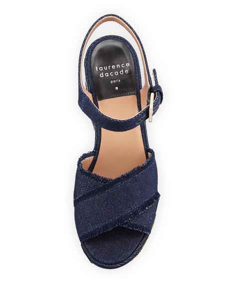 Helissa Pop Jeans Platform Sandal, Dark Denim