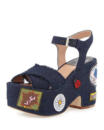 Helissa Pop Jeans Platform Sandal, Dark Denim