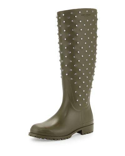 Crystal Rubber Rain Boot, Kaki Fonce