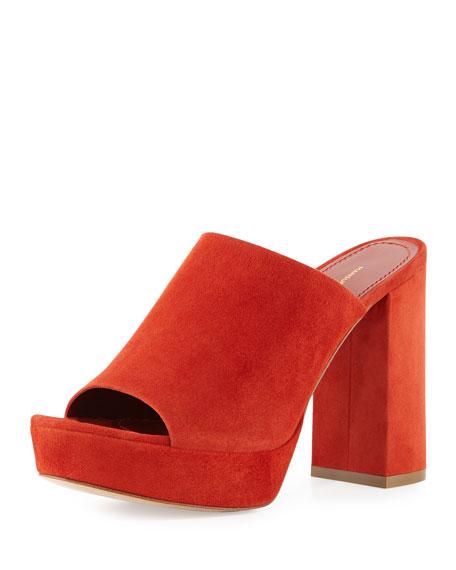 Suede Platform 110mm Mule Sandal, Brick