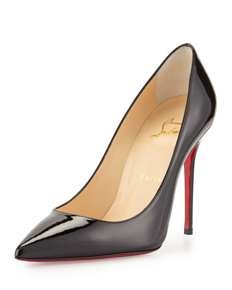 Decollette Pointed-Toe Red Sole Pumps, Black
