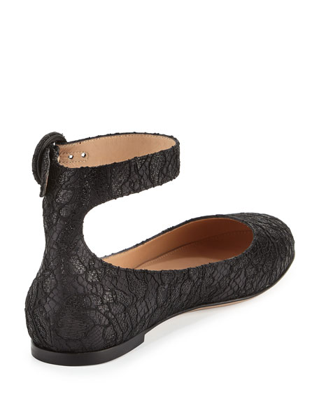 Lace Ankle-Strap Ballerina Flat