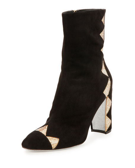 Crystal-Embellished Satin Ankle Boot, Black/Sunshine
