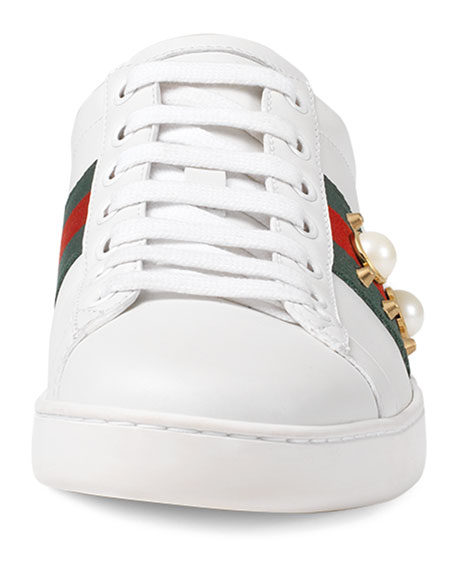 Gucci New Ace Studded Web Low-Top Sneaker, White