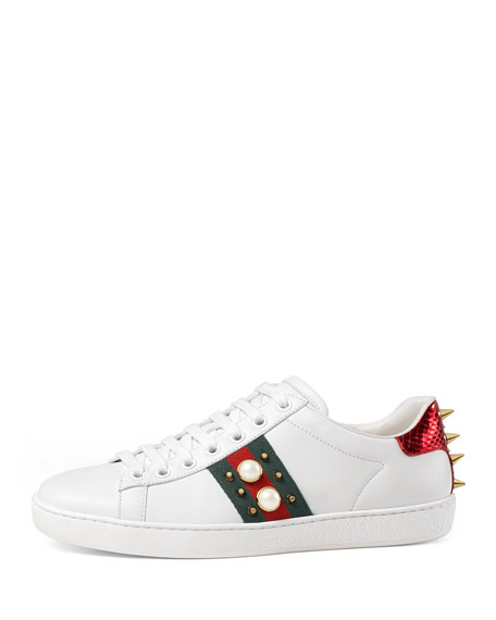 ab3ff357b84 Gucci New Ace Studded Web Low-Top Sneaker