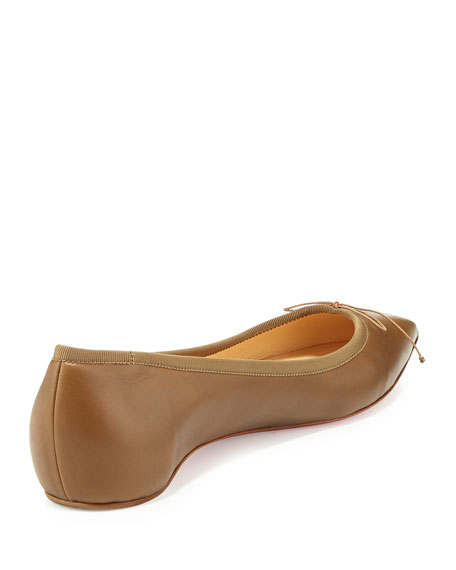 Solasofia Leather Red Sole Flat, Nude 5
