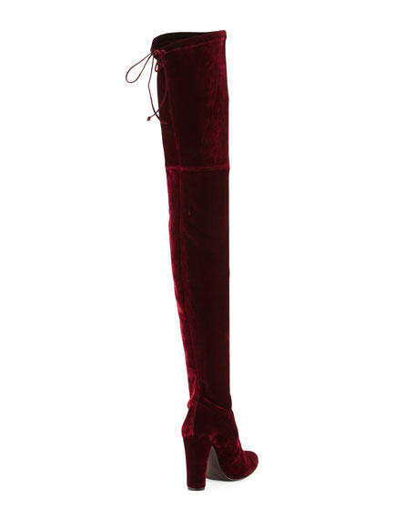 Alllegs Velvet Over-the-Knee Boot, Bordeaux