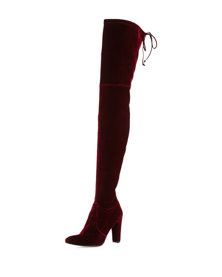 Stuart Weitzman Alllegs Velvet Over-the-Knee Boot, Bordeaux