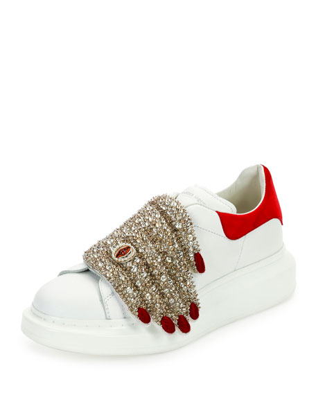 alexander mcqueen flat leather sneaker w jeweled hand multi. Black Bedroom Furniture Sets. Home Design Ideas