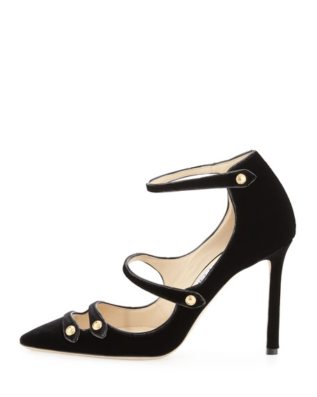Lacey Strappy Velvet Mary Jane Pump, Black
