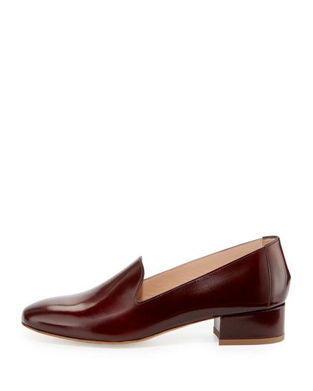 Polished Leather Block-Heel Loafer