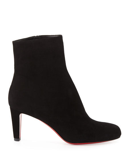 Top 70 Suede Red Sole Ankle Boot, Black
