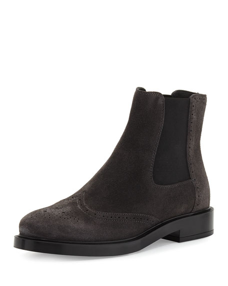d4fd19df957ad9 Tod's Brogue Suede Chelsea Boot, Gray