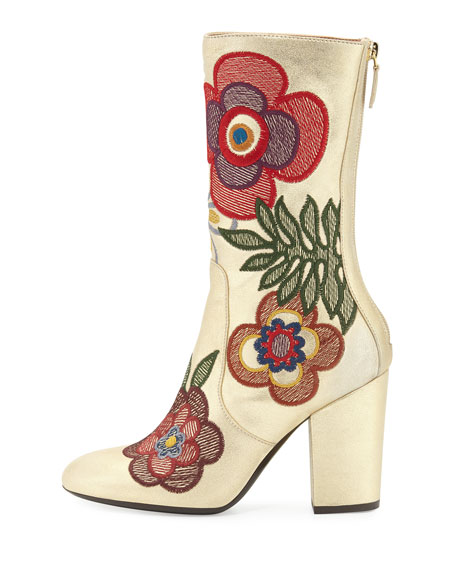 Insolente Embroidered Leather Boot, Gold/Multi
