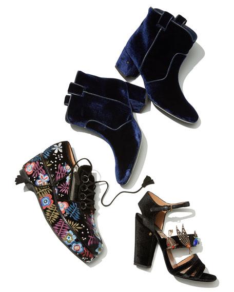 Malena Ornament-Embellished Velvet Sandal, Black