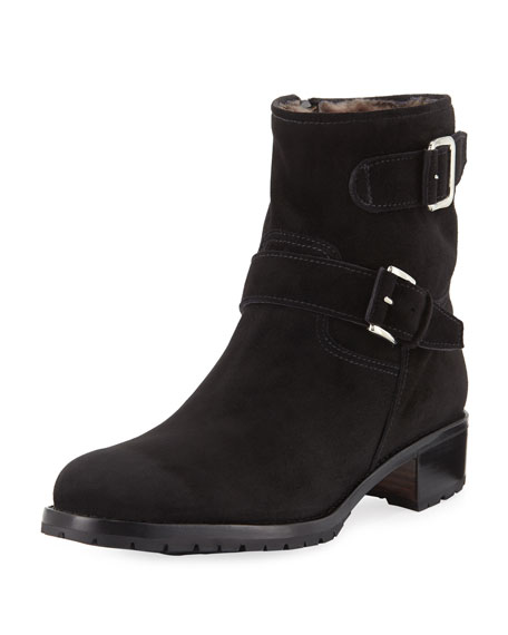 Two-Strap Leather Moto Boot, Black
