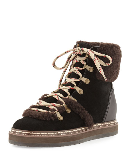4645ad44e33 Eileen Suede & Shearling Wedge Bootie Dark Brown/Black