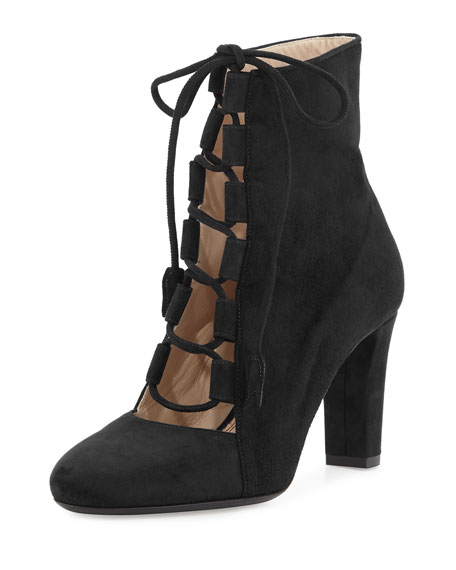 Nell Suede Lace-Up Ankle Boot, Black