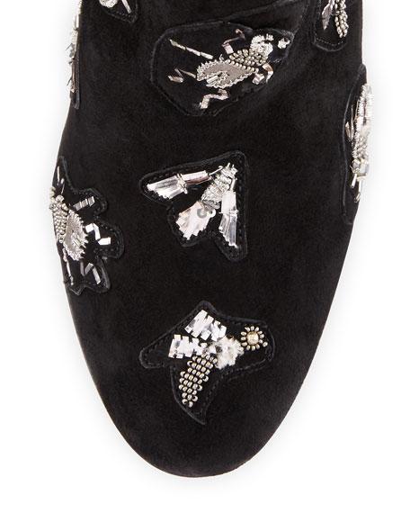 Fauna Embellished Suede Ankle Bootie, Black
