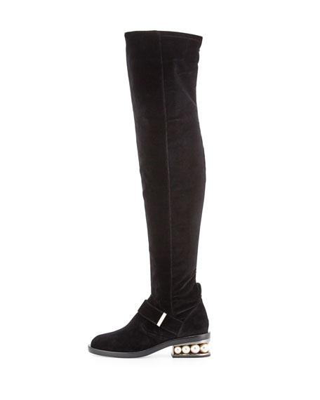 Casati Pearly Velvet Over-the-Knee Boot, Black
