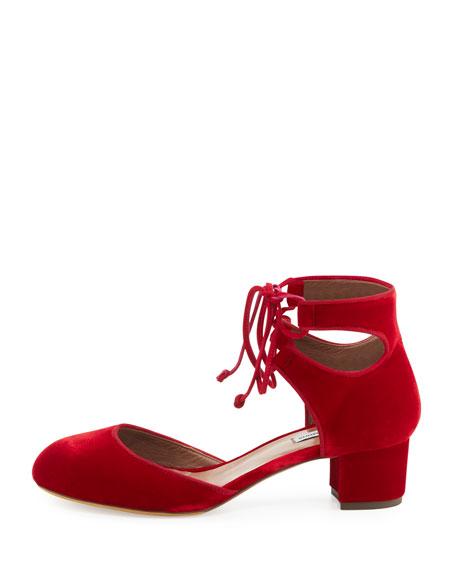 Imogen Velvet Ankle-Cuff Pump