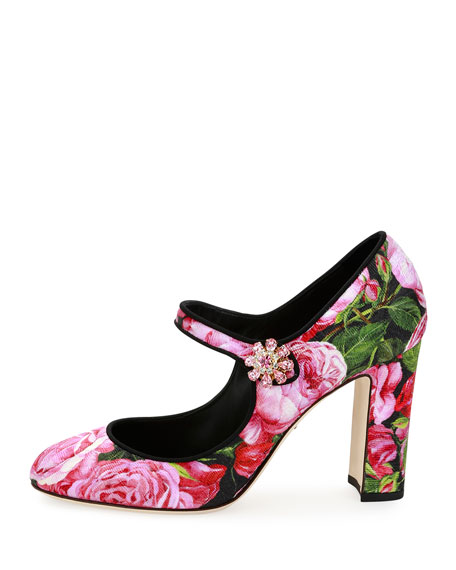 Rose-Print Brocade Mary Jane Pump