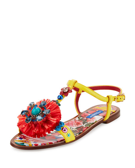 Jeweled Pompom T-Strap Sandal, Yellow/Multi